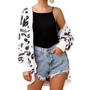 Long Sleeves Open Front Leopard Print Button Down
